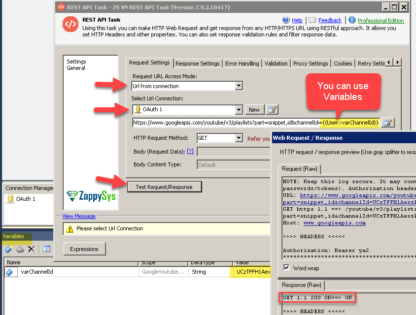 Call Youtube API in SSIS Example (Dynamic URL)