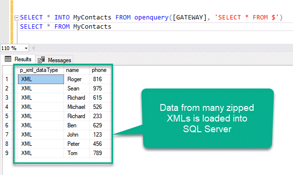 The data of many XMLs loaded from Amazon S3 bucket into SQL Server
