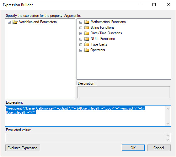 Expression to encrypt multiple files