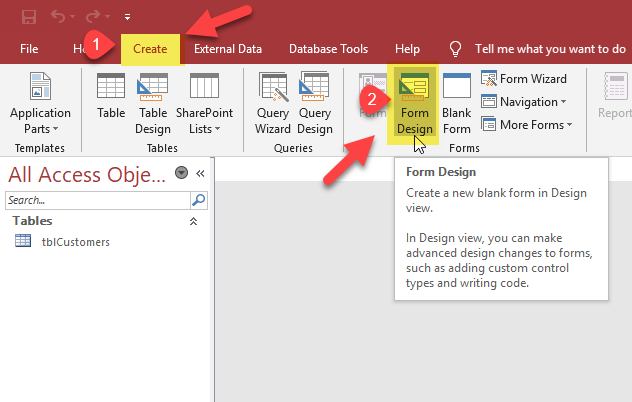 Access : Create a New Form in Design View