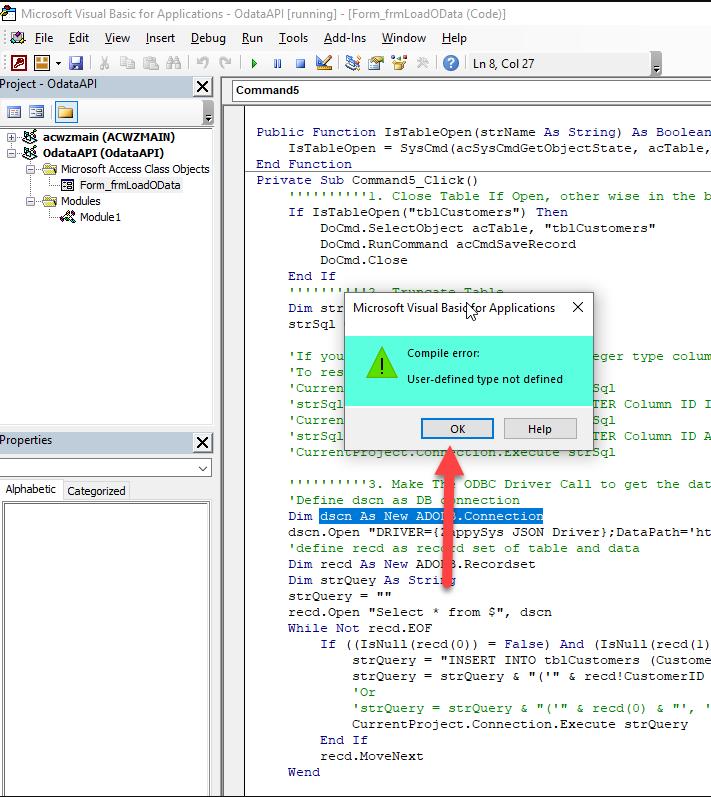 VBA : Error Type not defined