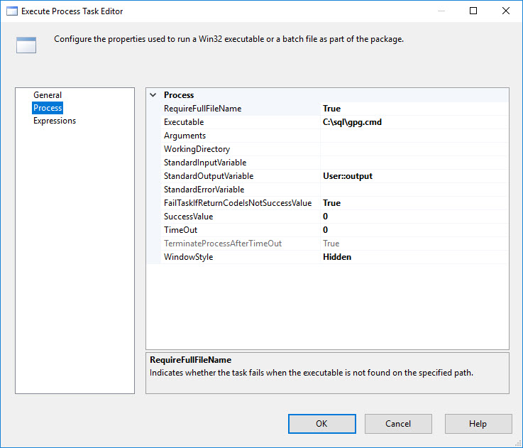 Invoke a cmd file in SSIS to encrypt