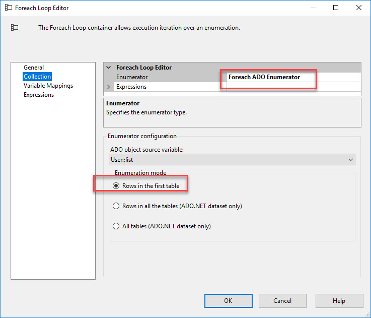 SSIS foreach loop container
