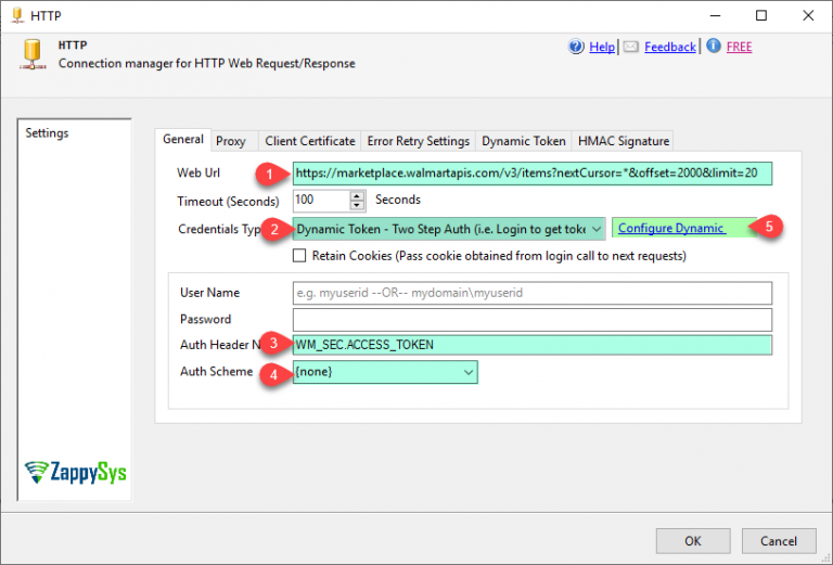 ZS HTTP Connection - Configure General Tab