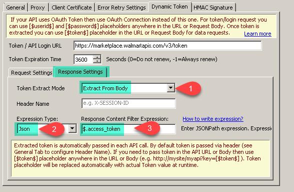 Walmart API - Extract Token - Response Settings