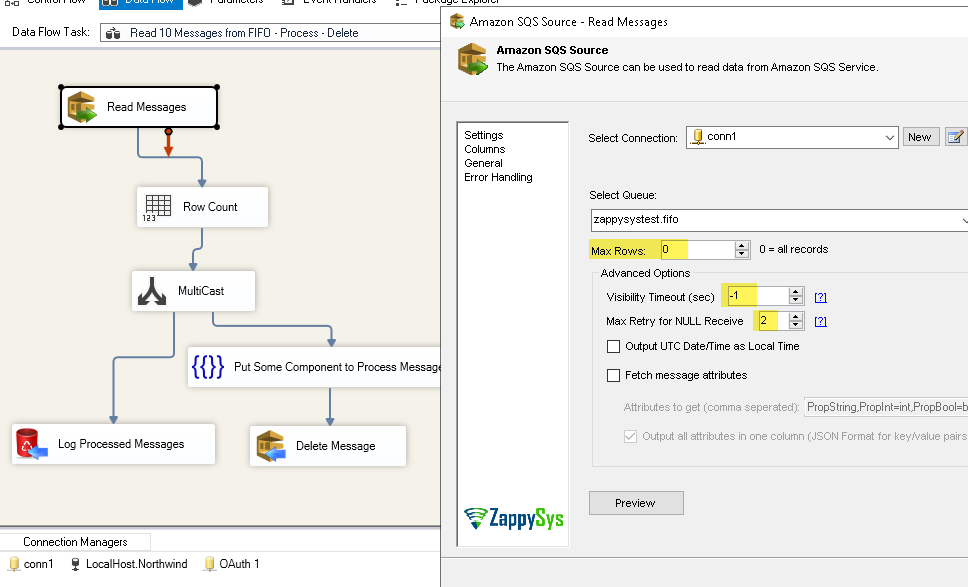 Read , Process and Delete Amazon SQS FIFO Queue Message in SSIS Data flow