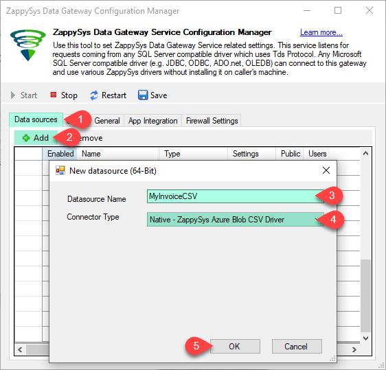 Create Data Source - Azure Blob CSV Driver