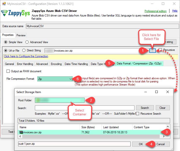ZappySys Azure Blob CSV - Configure Driver