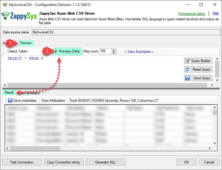 ZappySys Azure Blob CSV - Preview Data