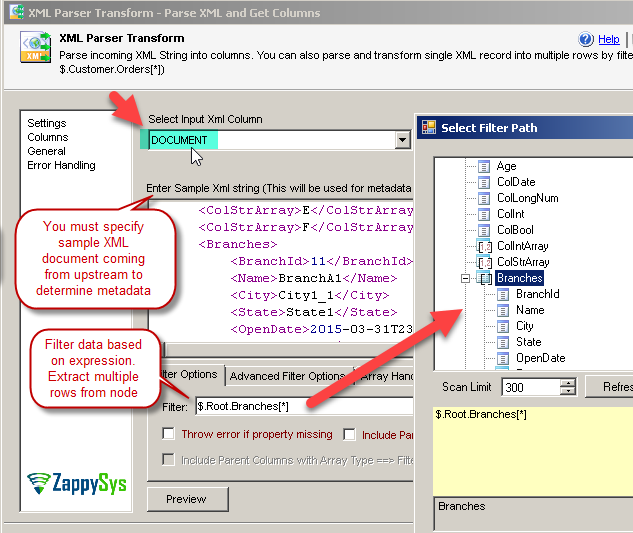 Parse XML string into multiple columns and rows using SSIS