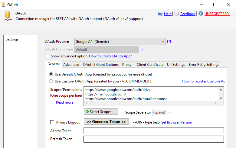 Gmail connection in SSIS