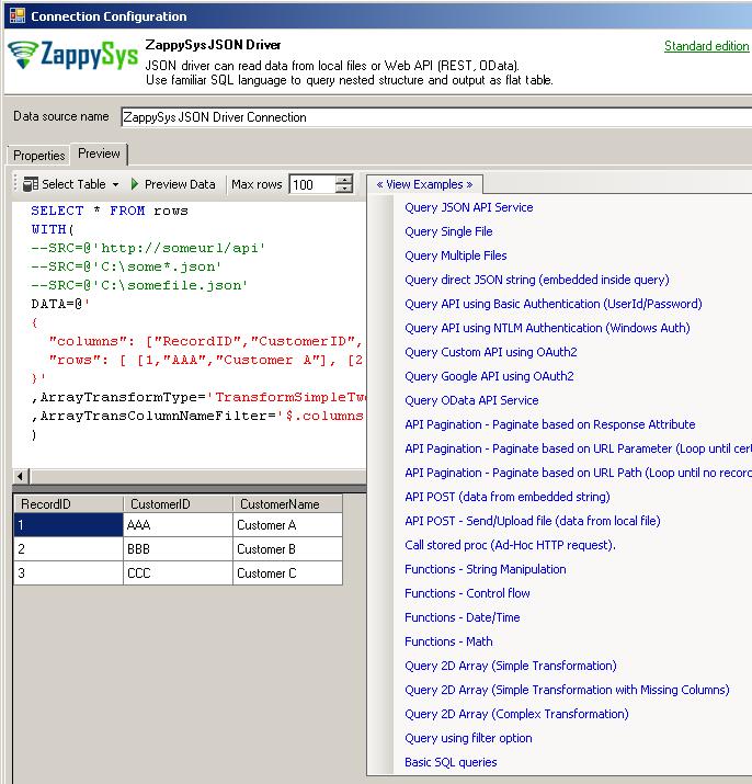 ODBC JSON Reader Driver - Import JSON / Call REST API