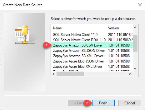 ZappySys ODBC Driver - Create Amazon S3 CSV Driver