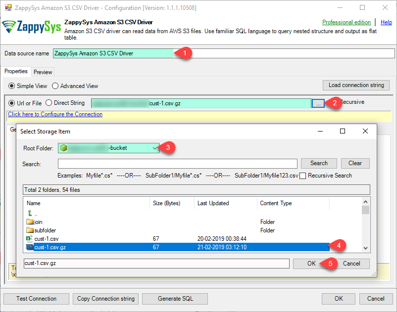 ODBC Amazon S3 Driver - Select File