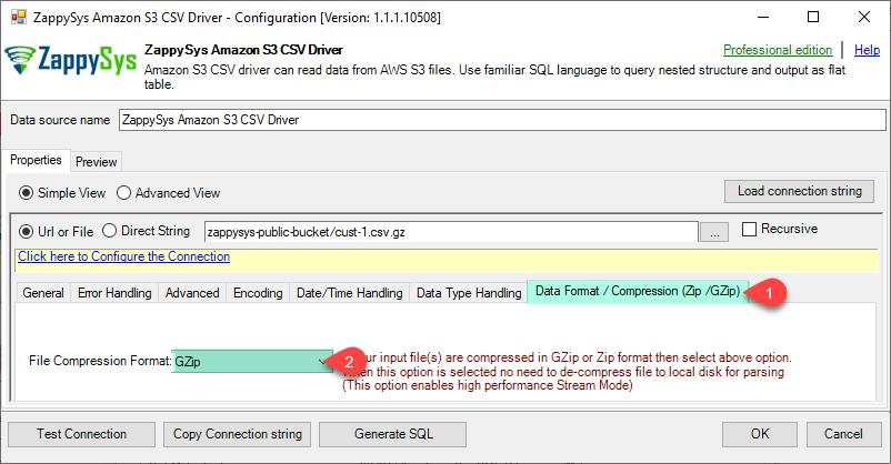 ZappySys ODBC Driver - Configure Amazon CSV Driver