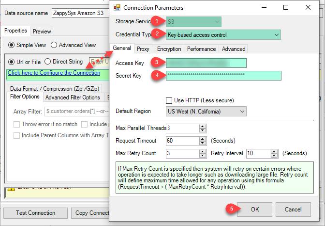 ODBC Amazon S3 Driver - Create Connection