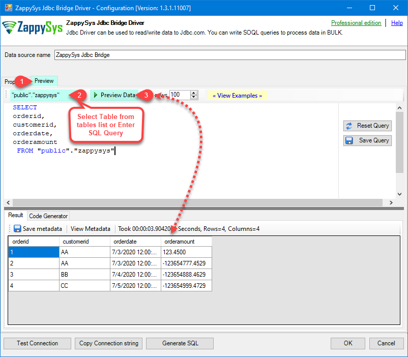 ZappySys JDBC Bridge ODBC Driver - Select Table and Preview Data