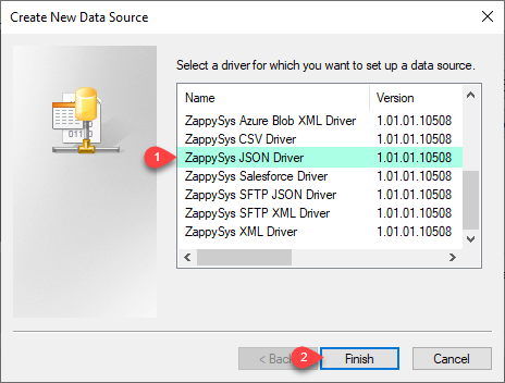 Select ZappySys ODBC Driver - JSON