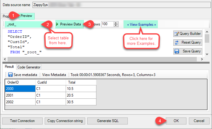 Select Table from Tables Dropdown and select [value] and click Preview.
