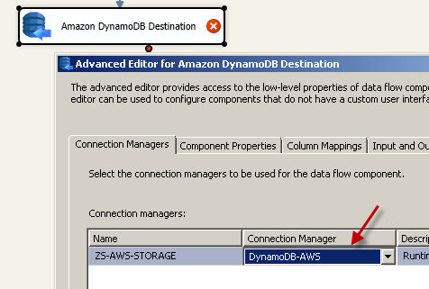 Configure SSIS Amazon DynamoDB Destination Adapter - Connection Tab