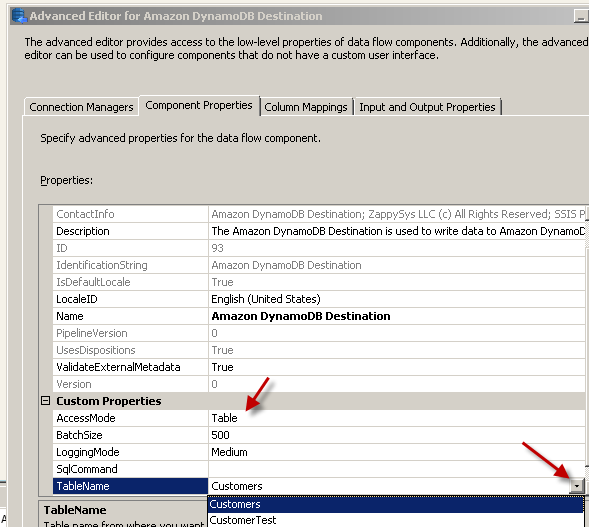 Configure SSIS Amazon DynamoDB Destination Adapter - Component Tab