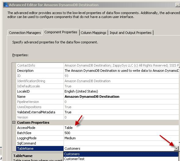 Configure SSIS Amazon DynamoDB Destination Adapter - Component Tab