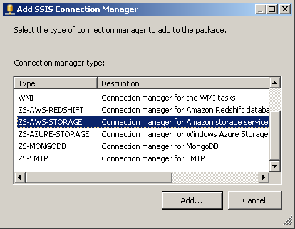 Select ZS-AWS-STORAGE Connection