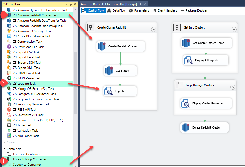SSIS Amazon Redshift Cluster Management Task - Create Redshift Cluster, Delete Redshift Cluster, Loop through Redshift Cluster Properties, Create Sanpshot, Delete Snapshot
