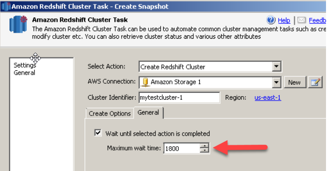 SSIS Amazon Redshift Cluster Management Task - Create Cluster Wait Options