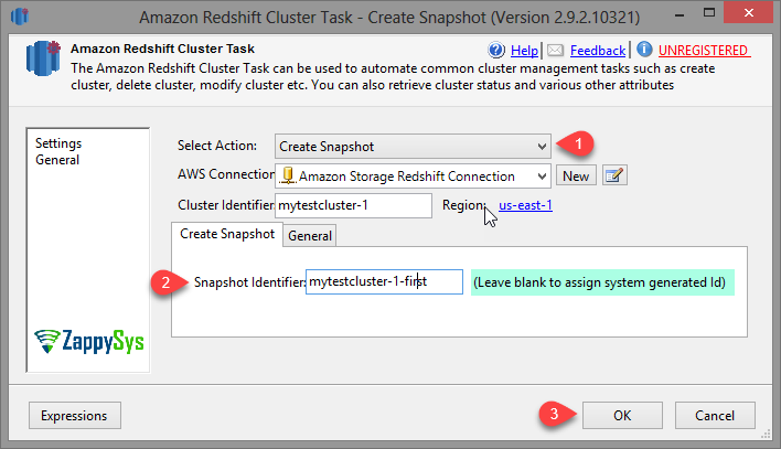SSIS Amazon Redshift Cluster Management Task - Create Snapshot Options