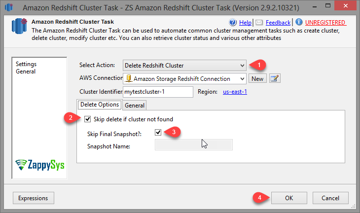 SSIS Amazon Redshift Cluster Management Task - Create Cluster Option