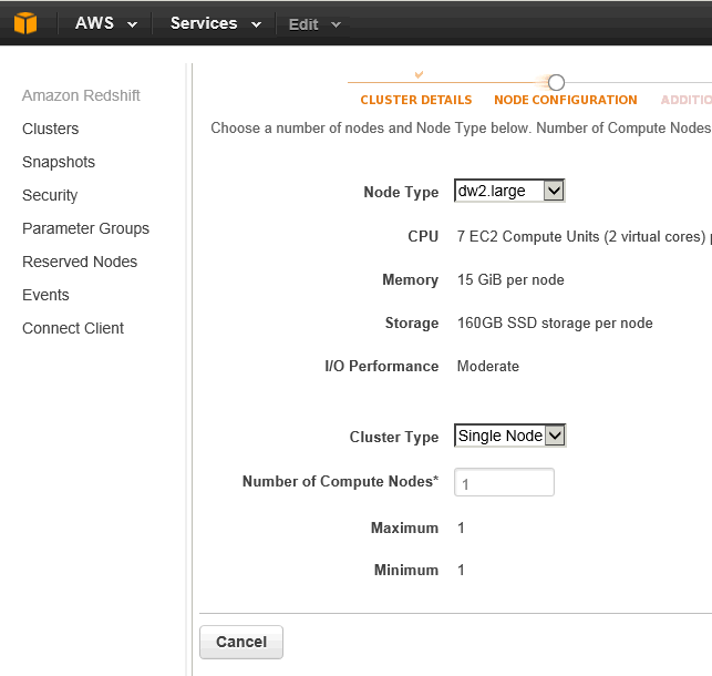 Configure Amazon Redshift Node Type and Cluster Type