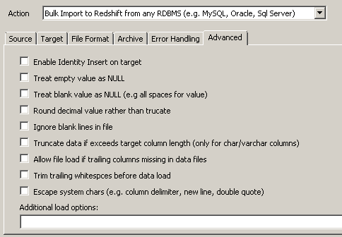 Configure advanced options for Redshift data load - truncation, null handling, rounding, escaping