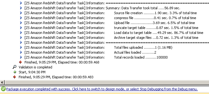 SSIS Redshift data transfer log
