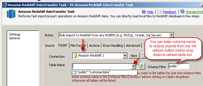 Configure Target - Select Redshift table where you want to load data