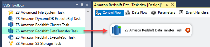Drag and Drop ZS Amazon Redshift Data Transfer Task from SSIS Toolbox