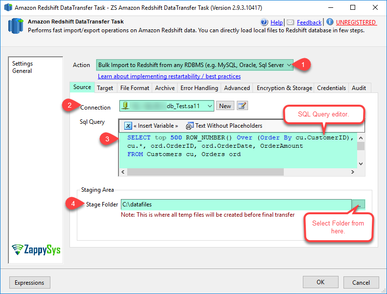 SSIS Amazon AWS Redshift Data Transfer Task - SQL Server or MySQL Table