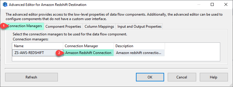 On [Connection Manager] tab select Amazon Redshift Connection manage