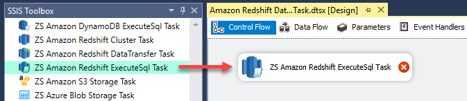 Drag and drop the Amazon Redshift ExecuteSQL Task