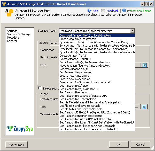 SSIS Amazon S3 Task (File Upload, Download, Delete, List