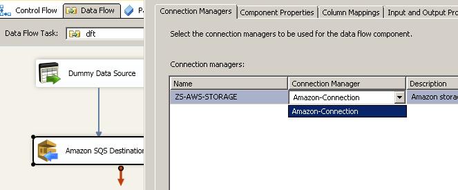 SSIS Amazon SQS Destination - Configure Connection Manager
