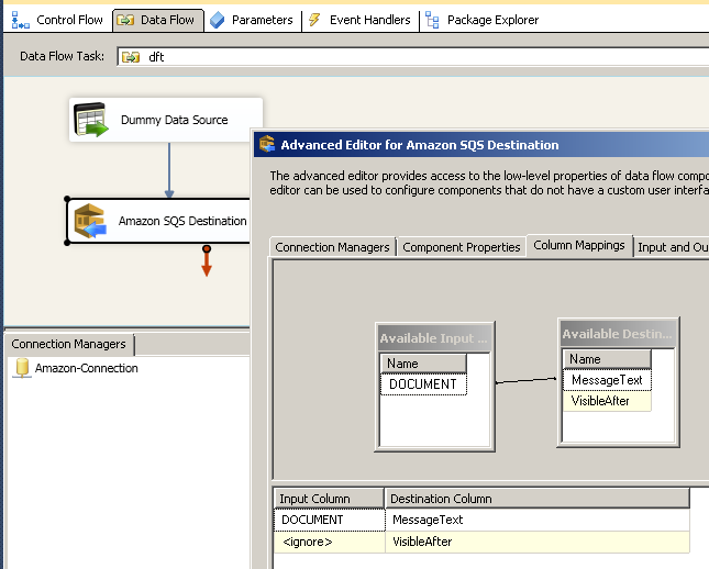 SSIS ZS Amazon SQS Destination - Column Mappings