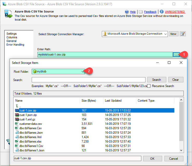 SSIS Azure Blob Source for CSV File - Read from Blob Storage