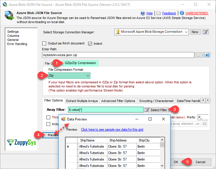 SSIS Azure Blob Source for JSON File | ZappySys