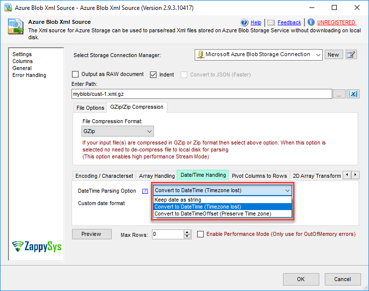 SSIS Azure Blob Source for XML File | ZappySys