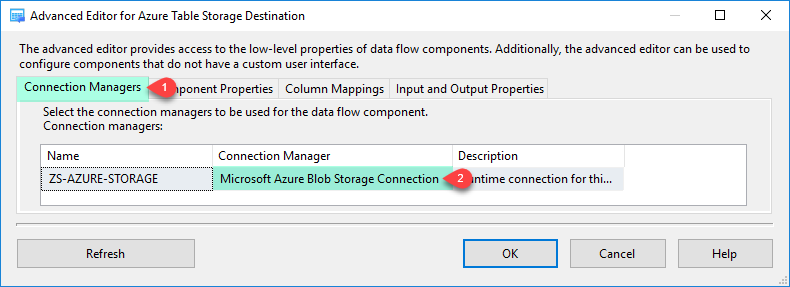 Configure SSIS Azure Table Storage Destination Adapter - Connection Tab