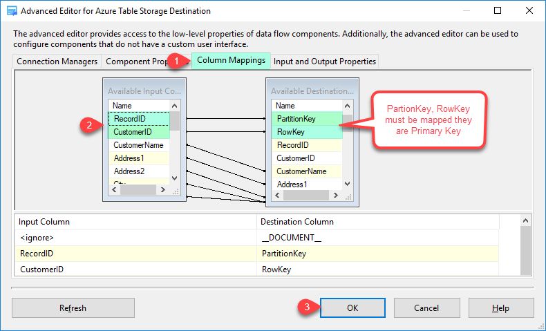 Configure SSIS Azure Table Storage Destination Adapter - Mapping Tab