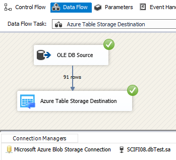Execute SSIS Azure Table Storage Destination Adapter - Load Data