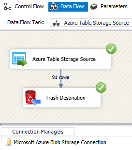Configure SSIS Azure Table Storage Source Sample Execution