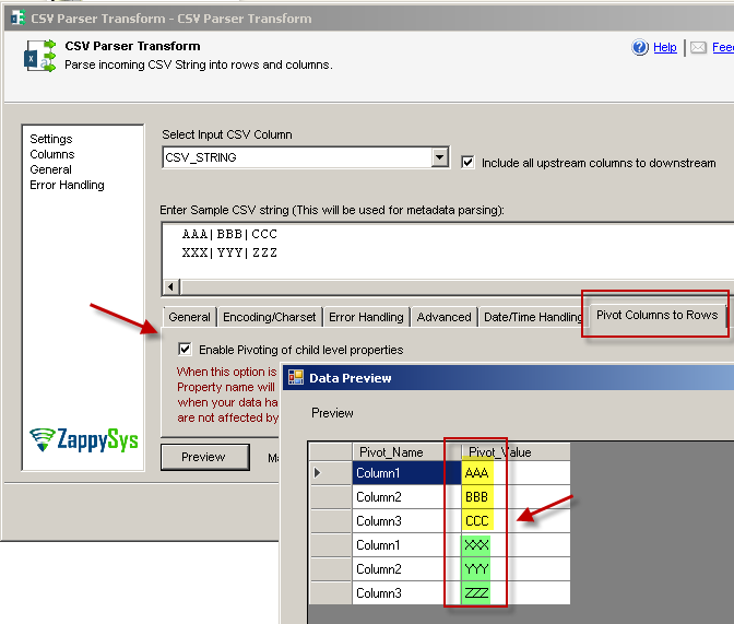 SSIS CSV Parser Transform – Pivot Option (Normalize CSV string)